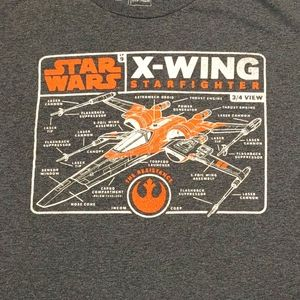 Star Wars X-Wing diagram graphic tee sz L